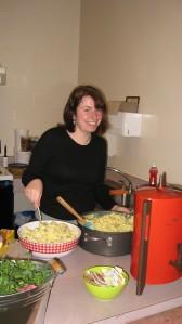 Rachel, my sister, prepping food.
